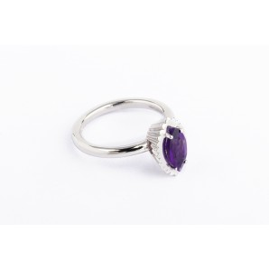 Marquise Cupcake Ring in silver and white gold with amethyst