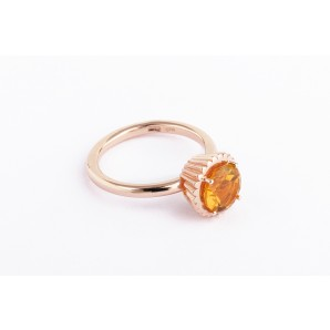 Big Round Cupcake Ring in silver and pink gold with citrine quartz