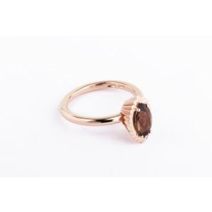 Marquise Cupcake Ring in silver and pink gold with smoky quartz