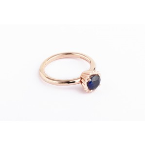 Small Round Cupcake Ring in silver and pink gold with sapphire