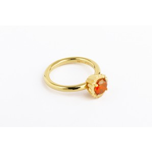 Small Round Cupcake Ring in silver and yellow gold with orange stone