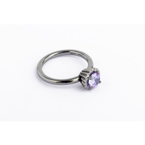 Small Round Cupcake Ring in rhodium silver with violet stone