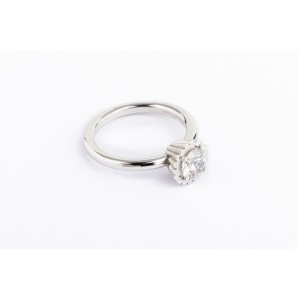 Small Round Cupcake Ring in silver and white gold with zircon
