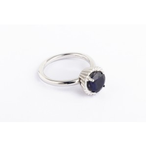 Big Round Cupcake Ring in silver and white gold with sapphire