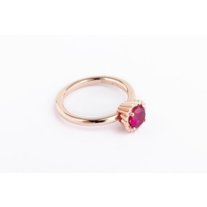 Small Round Cupcake Ring in silver and pink gold with ruby