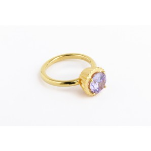 Big Round Cupcake Ring in silver and yellow gold with violet stone