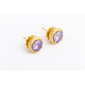 Cupcake Earrings in silver and yellow gold with violet stone
