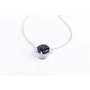 Cupcake Necklace in silver and white gold with sapphire