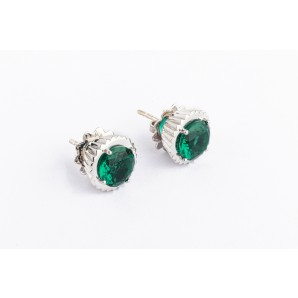 Cupcake Earrings in silver and white gold with emerald