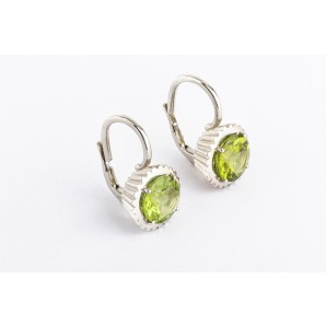 Cupcake Earrings in silver and white gold with peridot