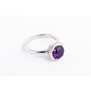 Big Round Cupcake Ring in silver and white gold with amethyst