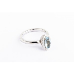 Marquise Cupcake Ring in silver and white gold with aquamarine