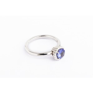 Small Round Cupcake Ring in silver and white gold with tanzanite