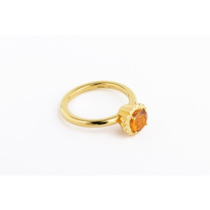 Small Round Cupcake Ring in silver and yellow gold with citrine quartz
