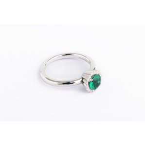Small Round Cupcake Ring in silver and white gold with emerald