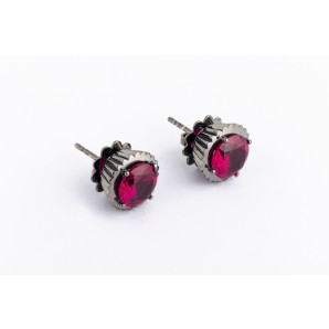 Cupcake Earrings in rhodium silver with ruby