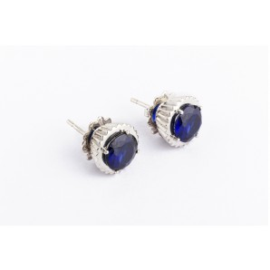 Cupcake Earrings in silver and white gold with sapphire