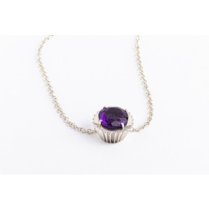 Cupcake Necklace in silver and white gold with amethyst