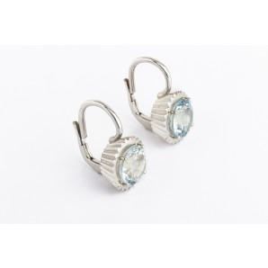 Cupcake Earrings in silver and white gold with aquamarine