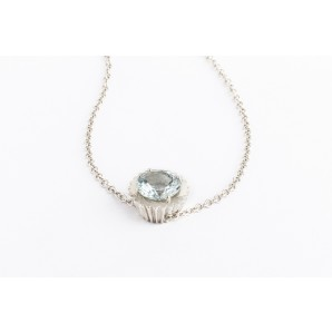Cupcake Necklace in silver and white gold with aquamarine