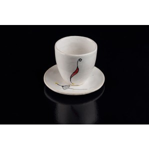 Coffee cup in white clay