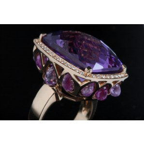 Ring Arabesque with Amethyst and Pink Sapphires