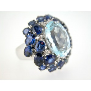 Cocktail Ring Aquamarine, Diamonds and Sapphires