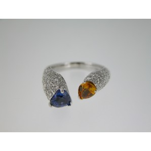 Cocktail Ring Two Sapphires
