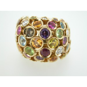 Links Ring Diamonds, Rubies and Sapphires