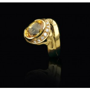 Yellow Sapphire Ring with Diamonds