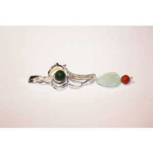 Silver Charm with Aquamarine, Cornelian and Jade