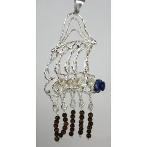 Silver Charm with Lapis Lazuli and Tiger's Eye