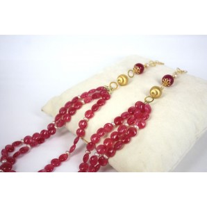 Necklace in Silver, Agates and Pearls