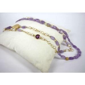 Necklace in Silver, Amethysts, Zircon and Pearls