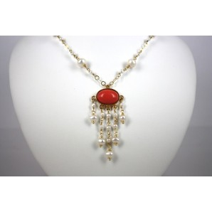 Silver Necklace with Coral and Pearls Charm