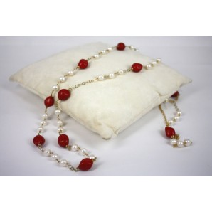 Necklace in Silver, Coral and Pearls