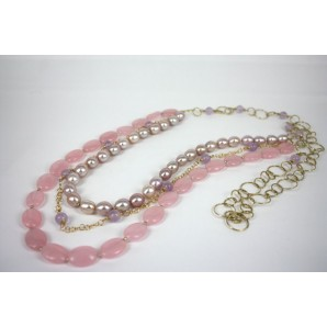 Necklace in Silver, Quartz and Pearls