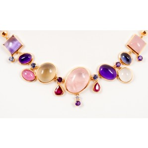Gold Necklace with Coloured Semiprecious Stones