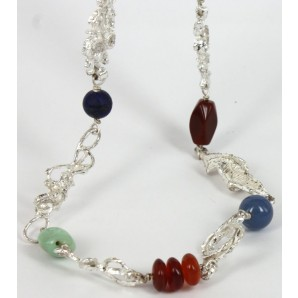 Long Necklace in Silver and Semi-precious Stones
