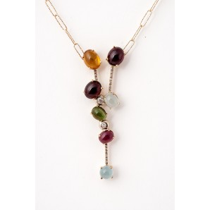 Pendent Gold Necklace with Semiprecious Stones