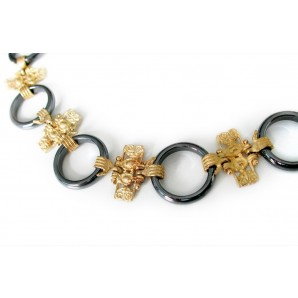 Collier Ginnico in Gold and Haematite