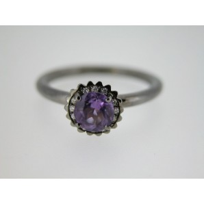 Small Round Cupcake Ring in Black Gold, Amethyst and Diamonds