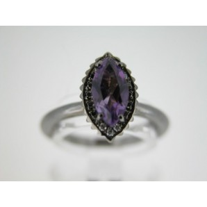 Marquise Cupcake Ring in Black Gold, Amethyst and Diamonds
