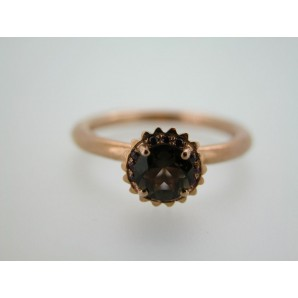 Small Round Cupcake Ring in Pink Gold, Smoky Quartz and Rubies