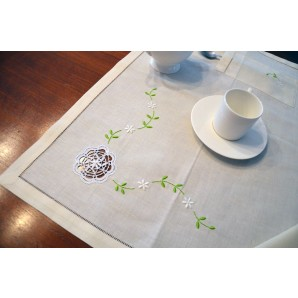 Bobbin lace set of placemats with cutlery pocket and napkin
