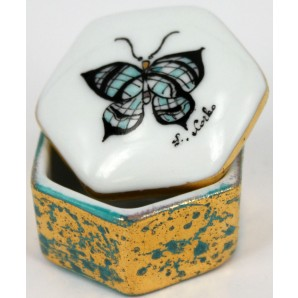 Porcelain little box with customizable butterfly or flower motif, marbled decoration