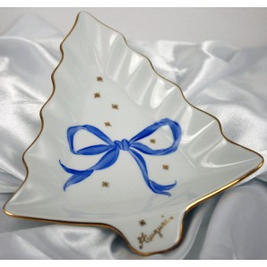 Tray Christmas fir-shaped with blue bow