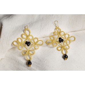 Gold and black flower lace earrings