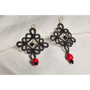 Red and black lace flower earrings