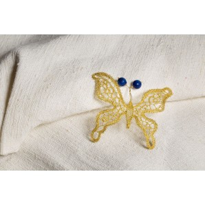 Lace butterfly with lapis lazuli